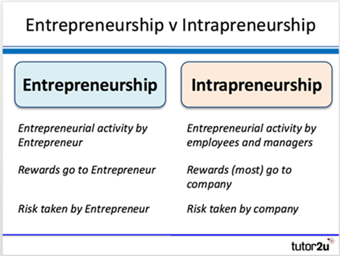Entrepreneurship vs intrapreneurship