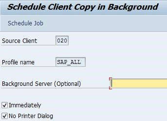 How to do a local client copy in SAP 7